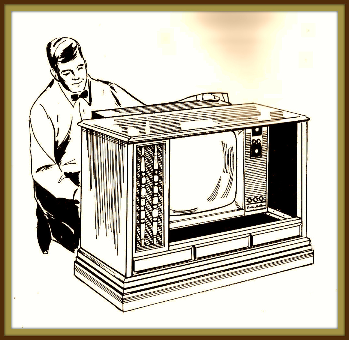 It was a marvelous thing to realize that with the Curtis Mathes Modular Program you would be able to keep your cherished heirloom cabinet and insert in it the module television of the future!