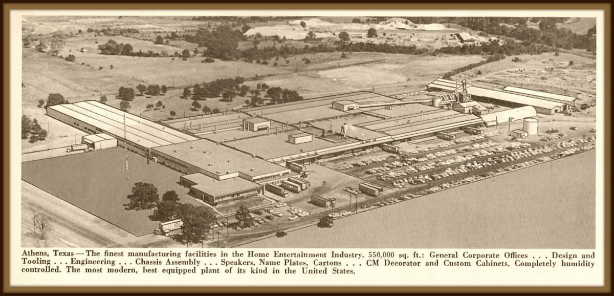 The Athens Texas plant was the finest manufacturing facilities in the Home Entertainment Industry, 550,000 square feet; General Corporate Offices, Design and Tolling, Engineering, Chassis Assembly, Speakers, Name Plates, Cartons ... all made here