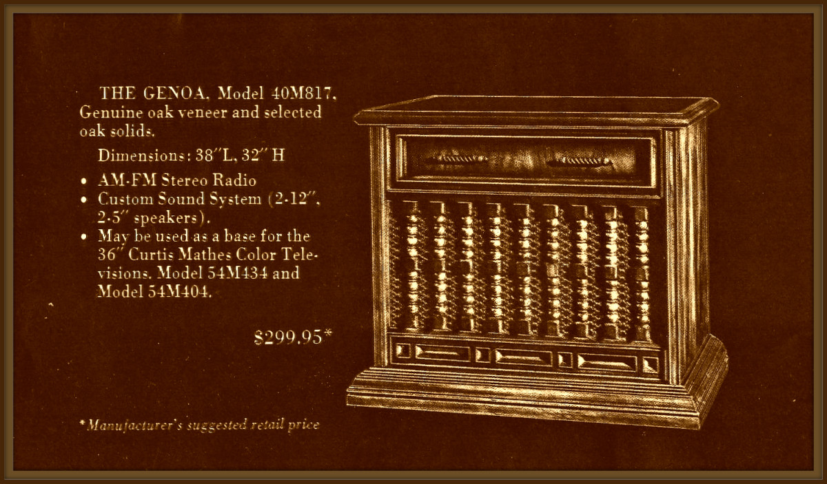 The Genoa, Model 40M817 Genuine oak veneer and selected oak solids. Dimensions: 38 inches long, 32 inches high.  Am - FM Stereo Radio, Custom sound system with four speakers, It may be used as a base for the 36 inch Curtis  Mathes color television ..