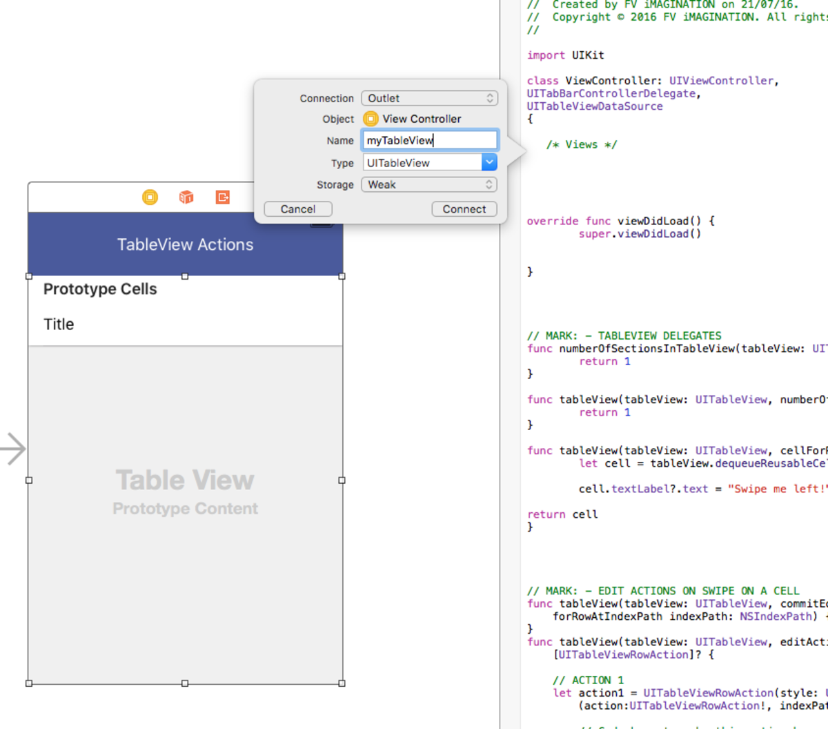 Attach the TableView to your .swift file