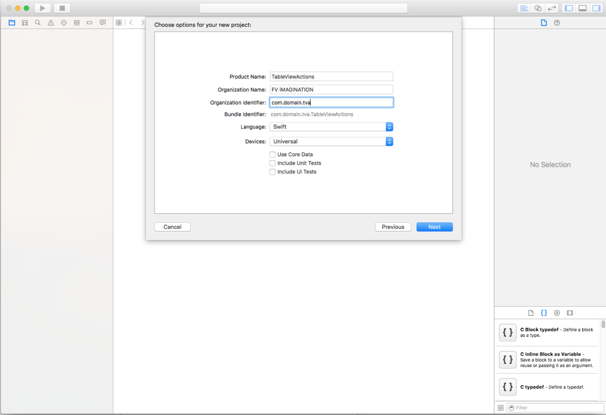 Name your Xcode project as you wish