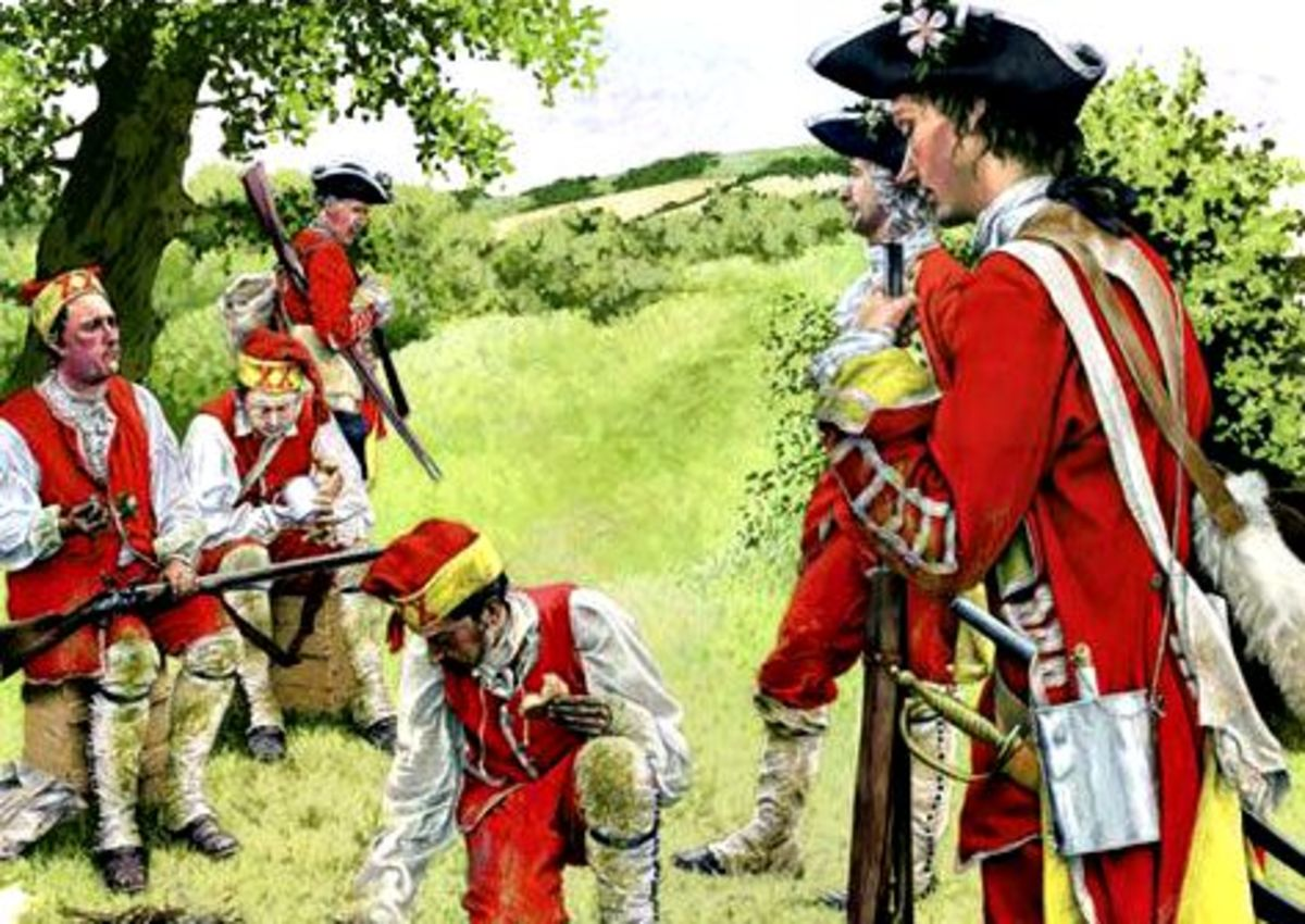 Light infantrymen at Minden, 1759 in the Seven Years' War. The nearest soldier, of the Yorkshire Regiment has a white rose in his hat [a reason for county regiments was men from other shires  could hardly understand their fellows from another shire