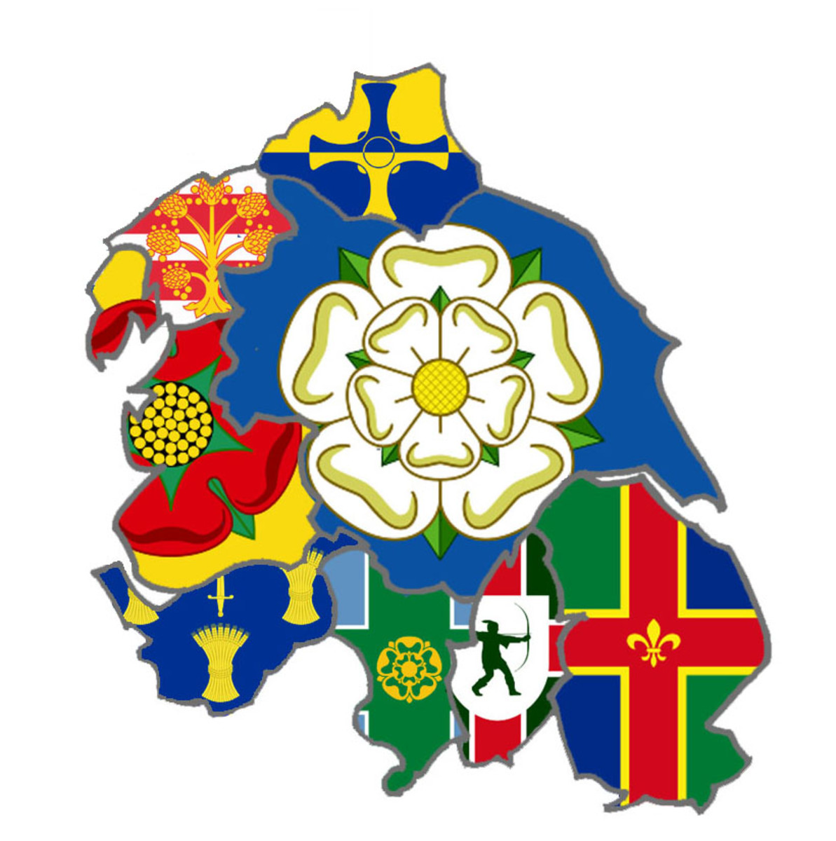 The banners of Yorkshire with the white rose at the heart with the neighbours, pictured are the cross of Durham at the top and Lincoln on the right, Nottinghamshire (Robin Hood), Derbyshire, Cheshire, Lancashire and Cumbria