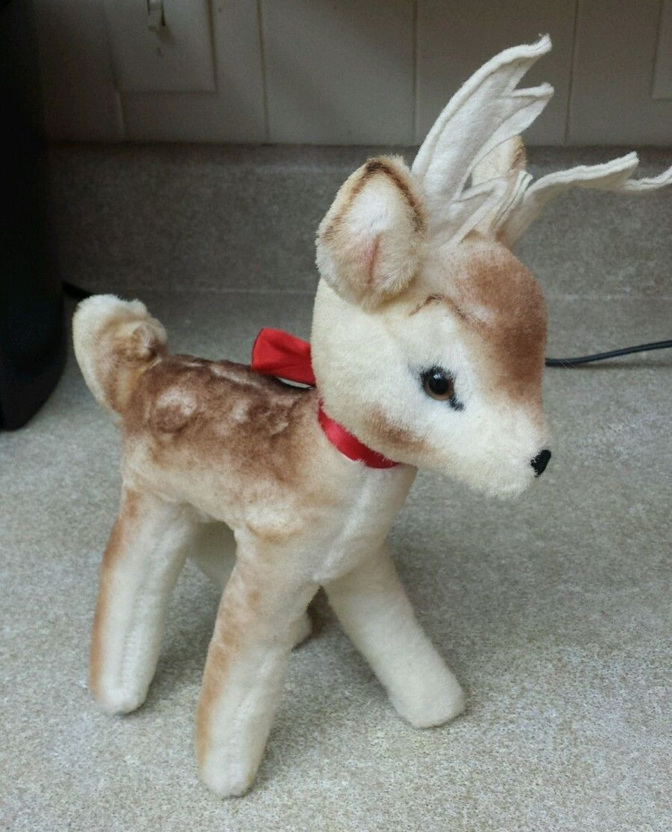"""A beautiful well made vintage """"Bambi"""" hand made deer. This stuffed animal was Designed by Character Novelty Company in the 1950s . This Plush toy was hand made in Norwalk, Connecticut back in the 1950s by folks that knew how to make toys."""