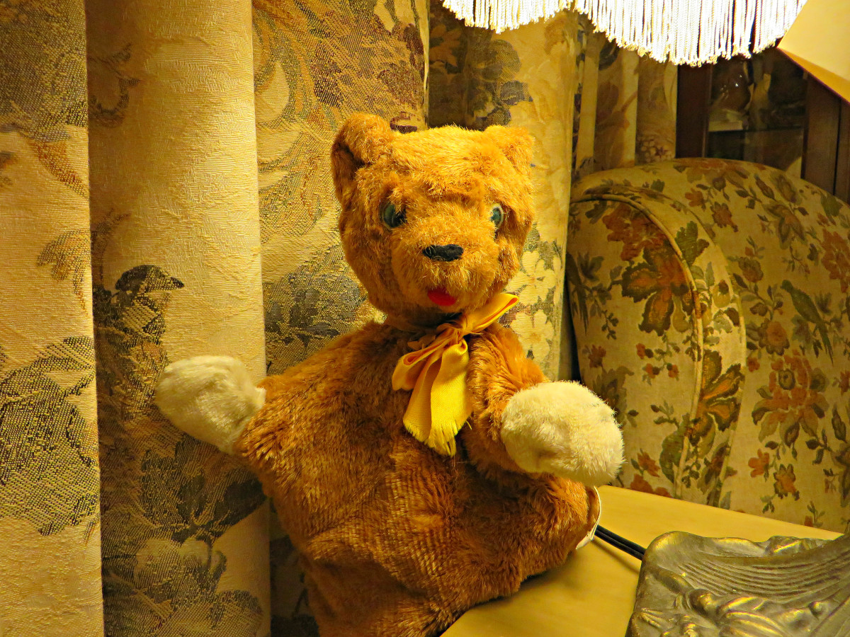 The Character Novelty Co. Brown Bear Puppet was on of many animals that because the mainstay of the companies puppet collection. Used in many Kindergartens across the United States these Puppets were made from the 1930s up to the late 1960s.