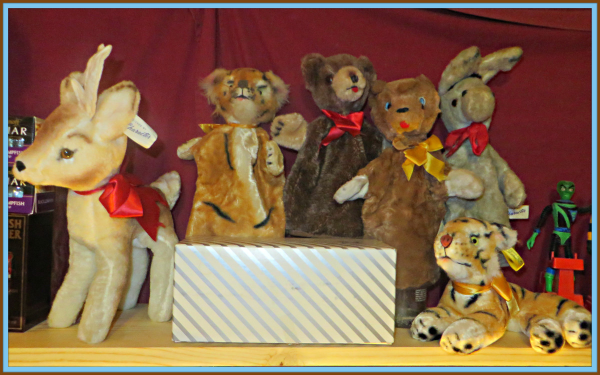 Bambie, Hand Puppets and Tiger by Character Novelty Co Character Brown Bear, Sleepy Monkey & Valentine's Bear. Bambi the Deer Character Novelty Company of Connecticut USA ..