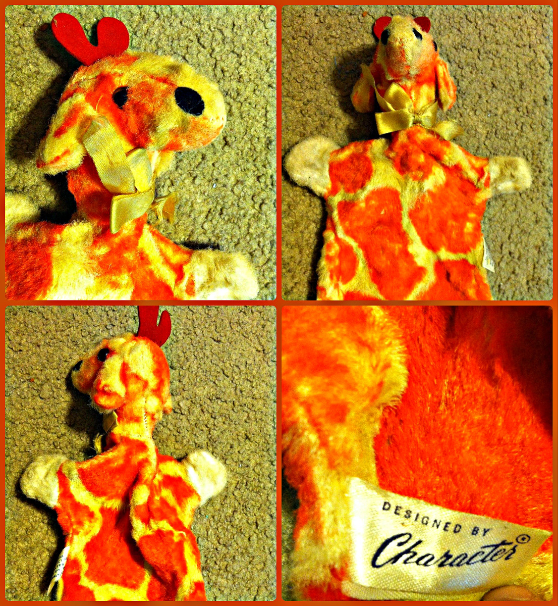 Here is a awesome vintage Giraffe hand puppet hand made with love by Character Novelty Co.  The fur is bright and very plush. He has a golden bow that matches his coloring.