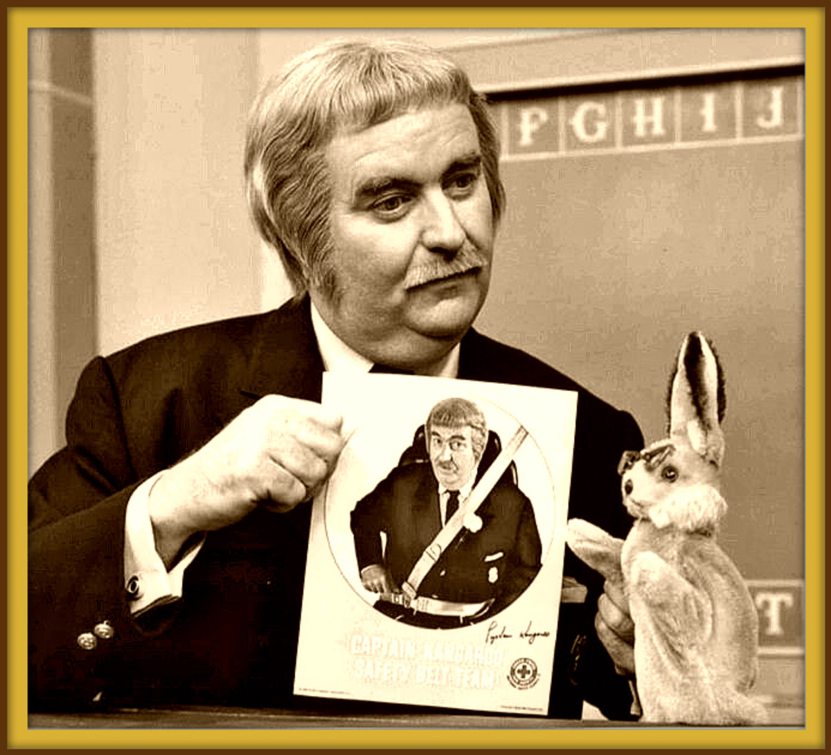 Captain Kangaroo with Bunny Rabbit. Bunny was made by Character Novelty Company. This was an AD that was  part of a seat belt campaign. Bob Keeshan played Captain Kangaroo for many many years on TV.