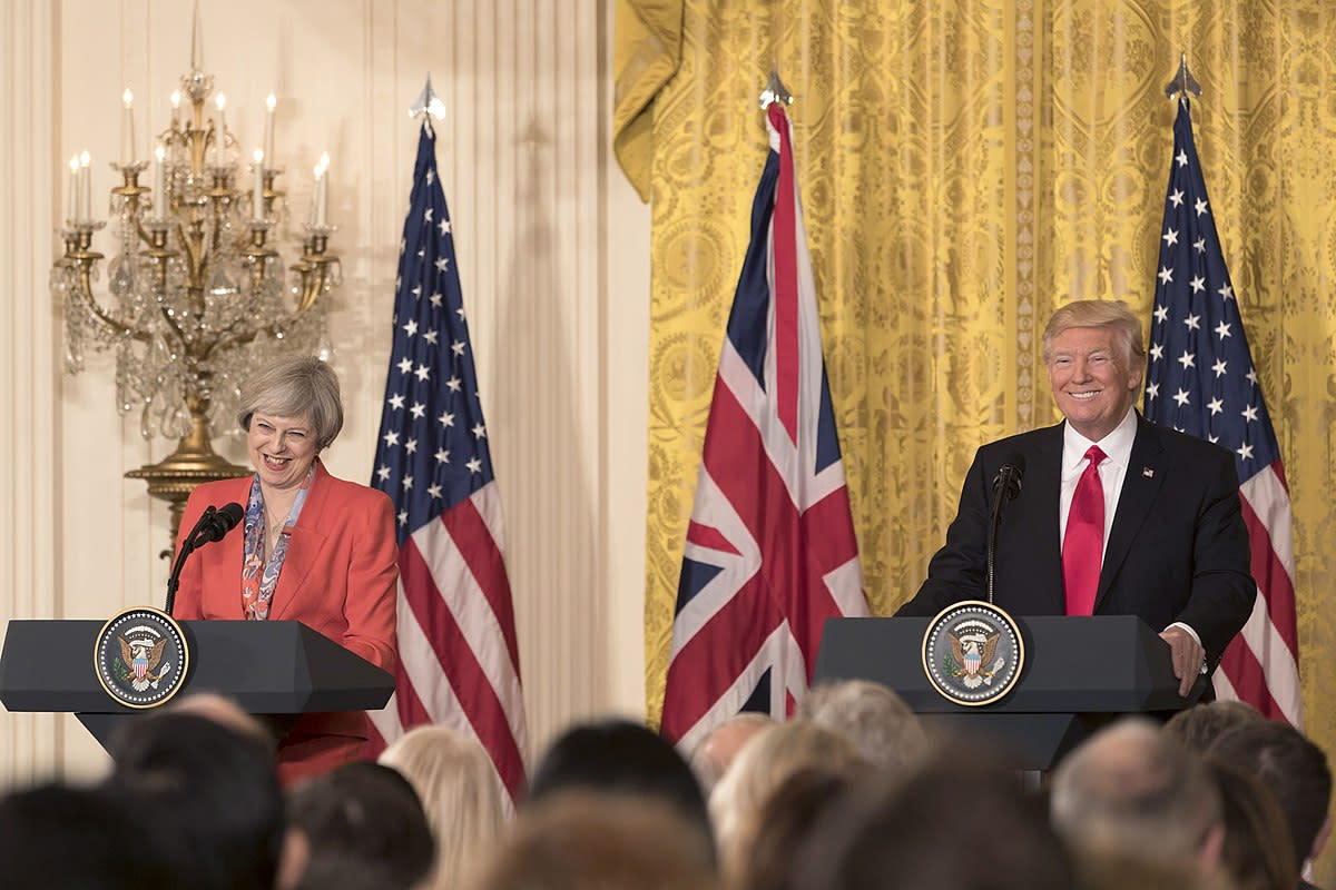 President Donald Trump and British Prime Minister Theresa May appear at a joint press conference, Friday, Jan. 27, 2017, in the East Room of the White House in Washington, D.C.