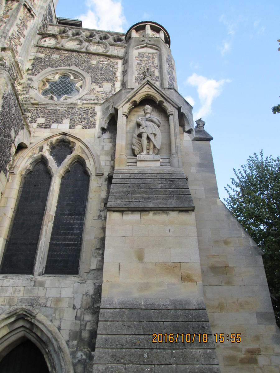 Close to the church door at Waltham. Having recovered from a near-fatal illness, Harold contributed a small fortune to have the church improved and a college was founded