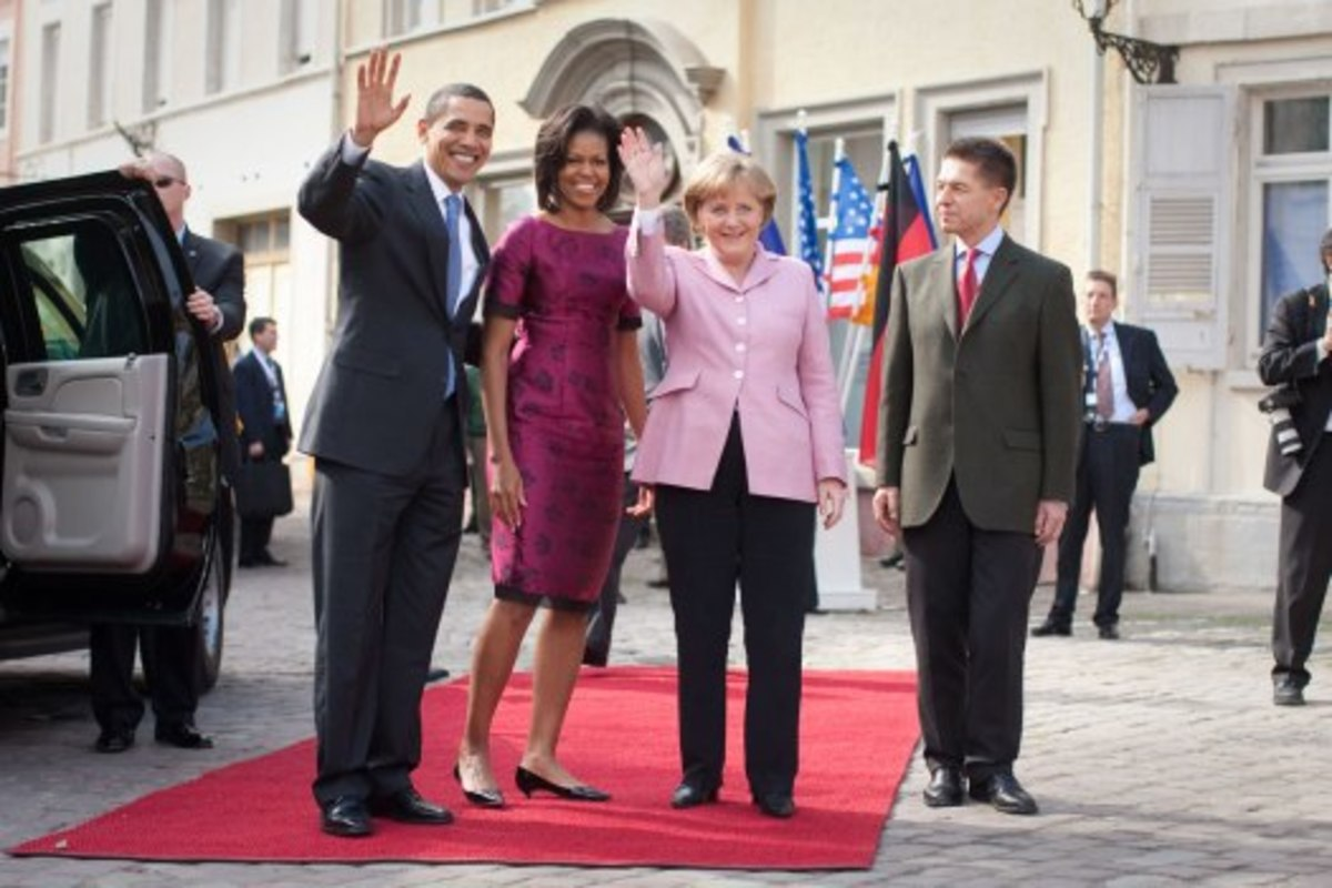 Barack Obama, Michelle Obama, Merkel, and her husband, Joachim Sauer, 2009