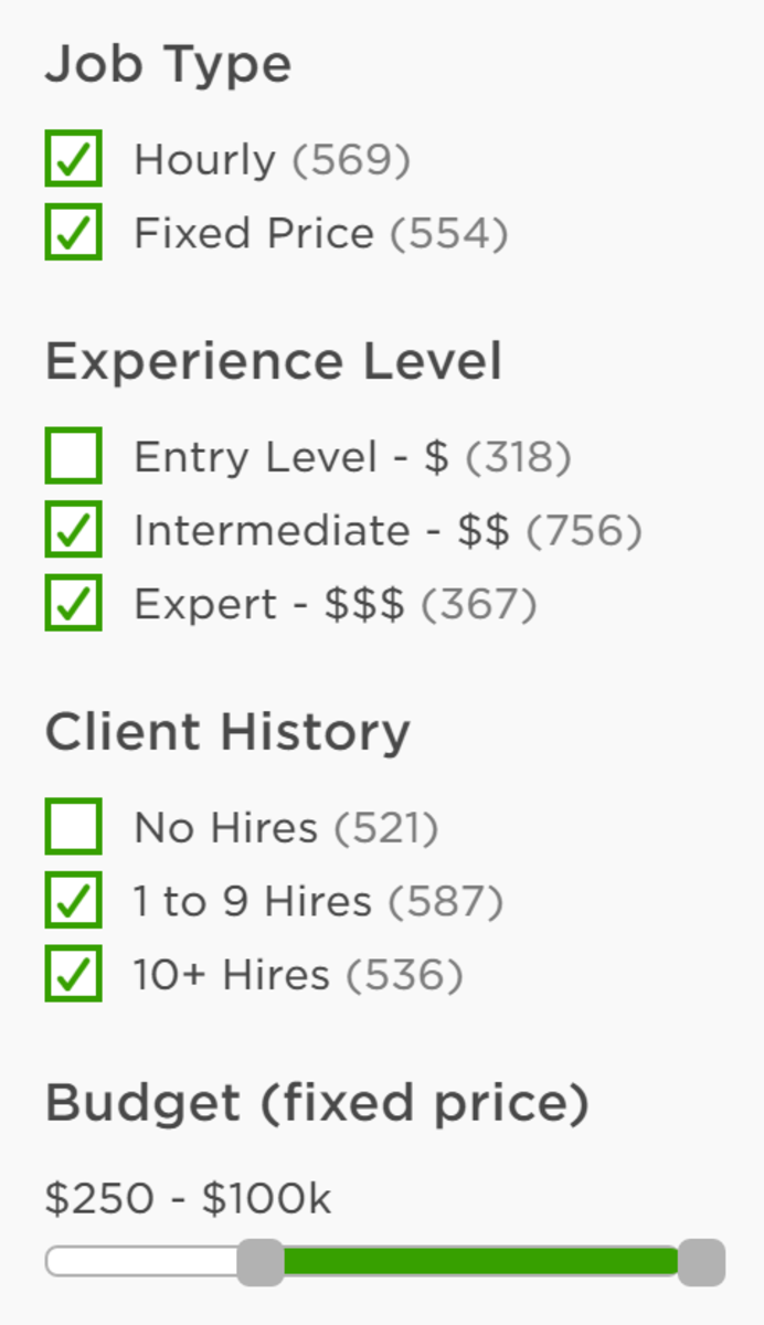 Filters' options on Upwork