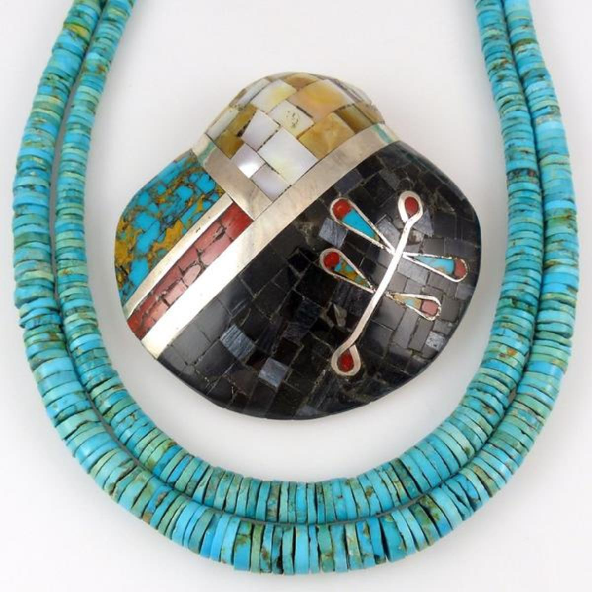 Santo Domingo beaded turquoise necklace and inlay pin.