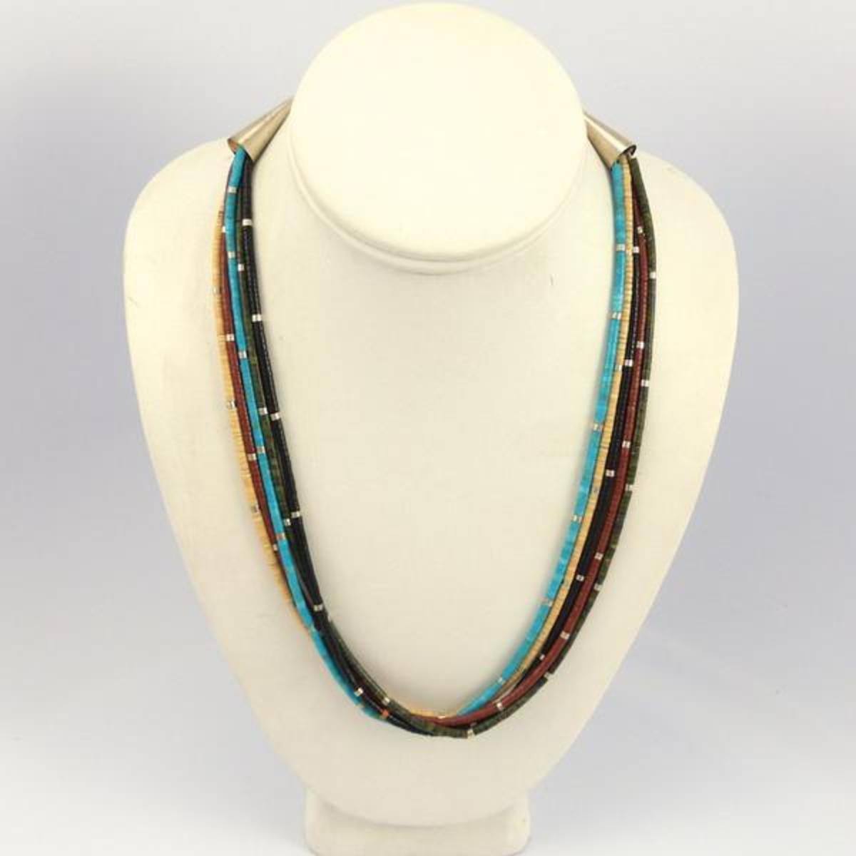 Multi-stone heishi bead necklace