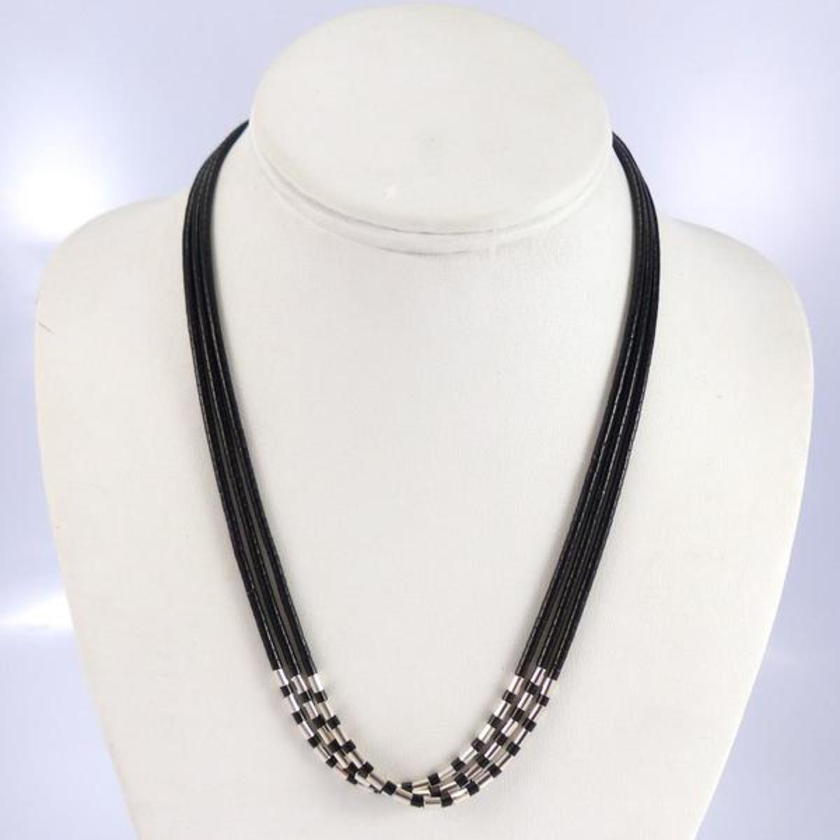 Jet and silver bead necklace