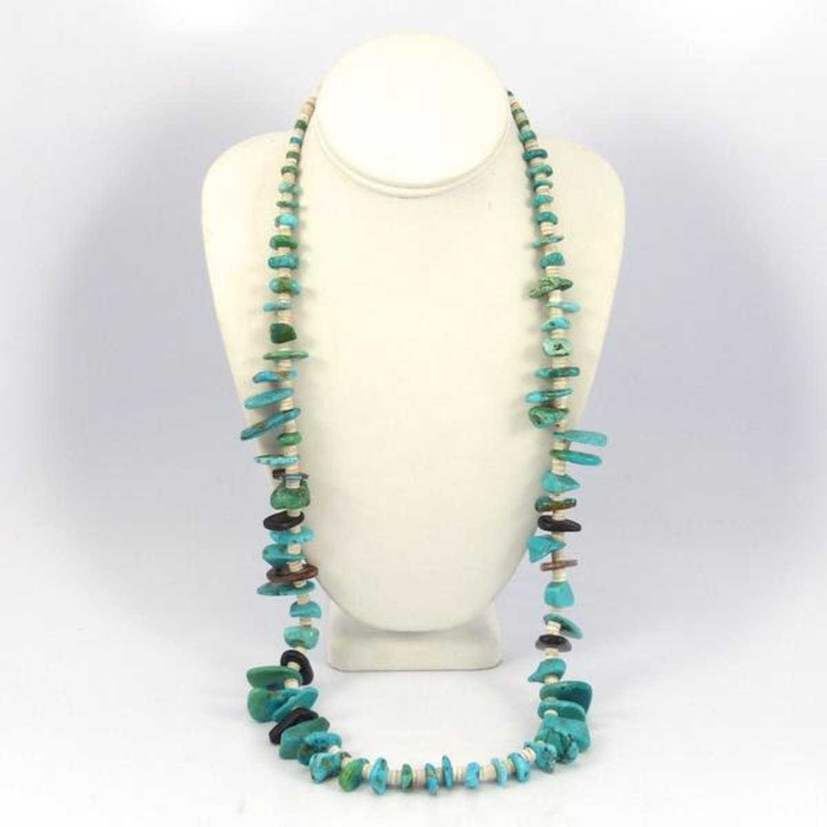 1930's vintage heishi turquoise necklace