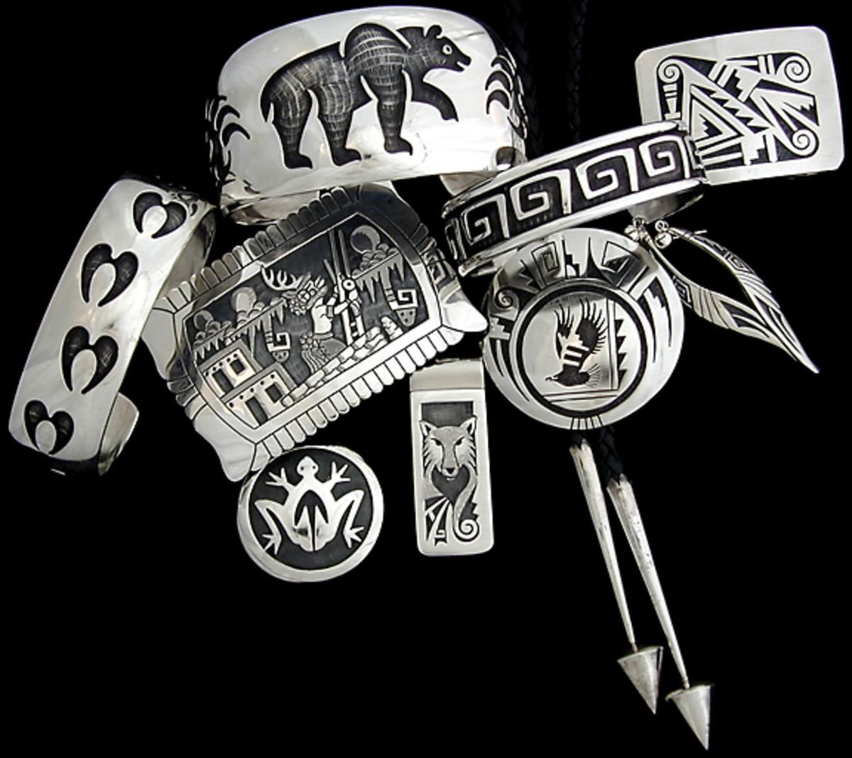 Hopi silver overlay jewelry