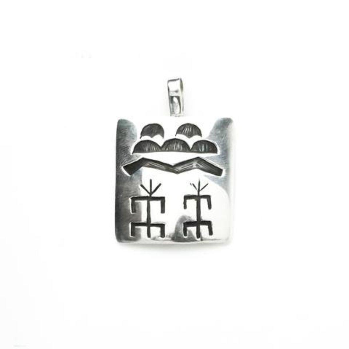Hopi Corn Cloud overlay pendant.  Made by native Dawson Numkina.