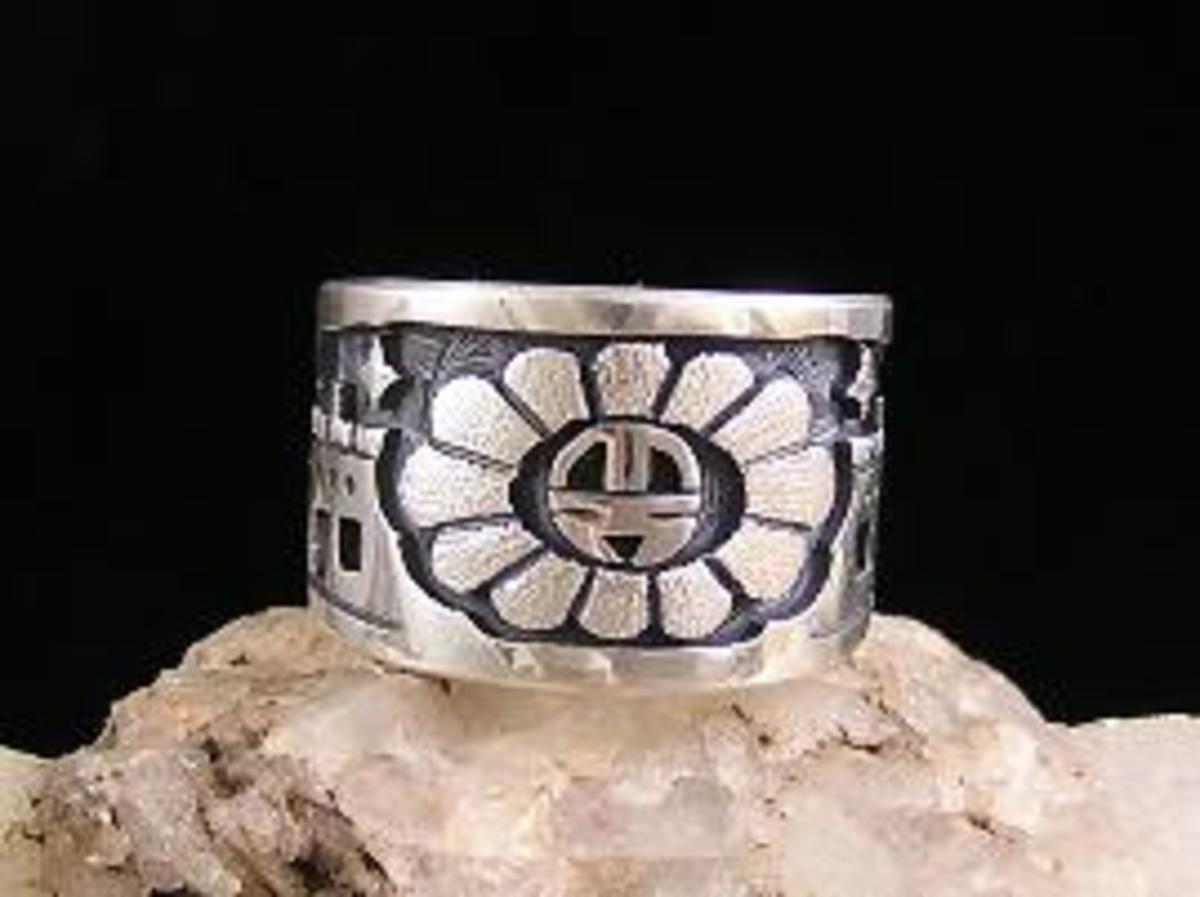 Hopi silver overlay Sunface Night Scene Ring.