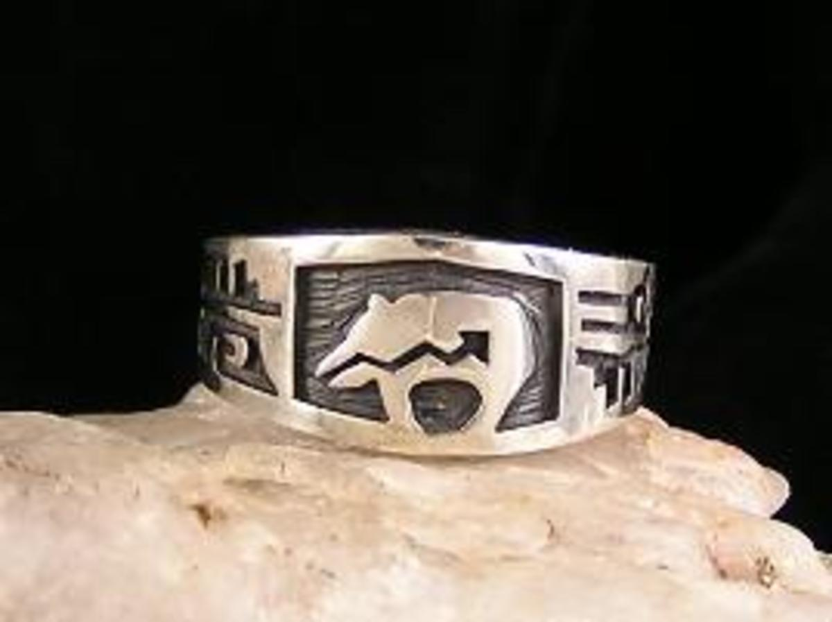 Hopi overlay silver Bear Ring.  Made by native Cyrus Josytewa.