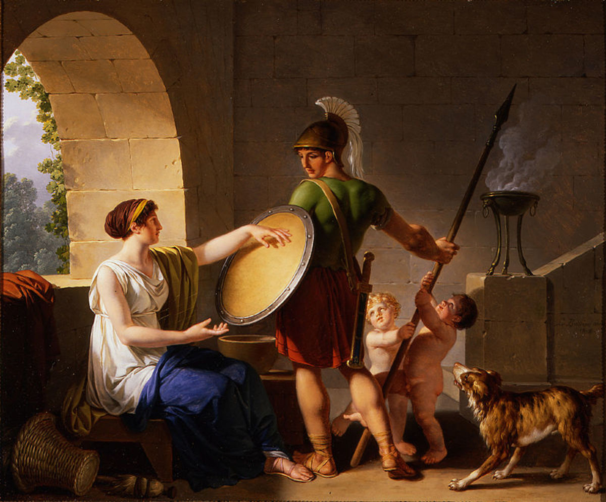 "Spartan women enforced the state ideology of militarism and bravery. Plutarch relates that one woman, upon handing her son his shield, instructed him to come home ""either with this, or on it"""