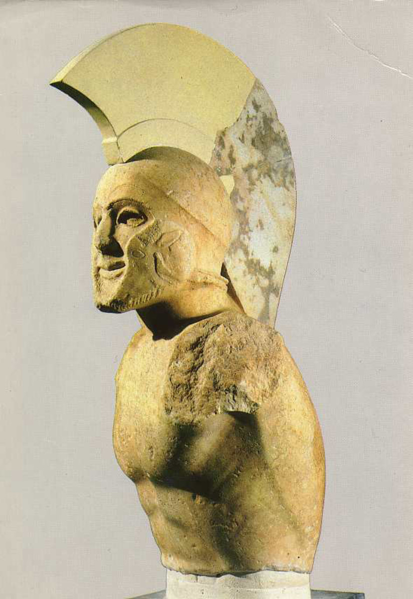 Marble statue of a helmed hoplite (5th century BC), Archaeological Museum of Sparta, Greece