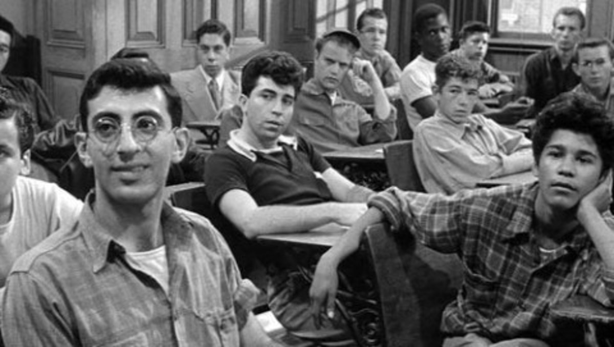 Jamie Farr, Vic Morrow, Sydney Poitier and others as troubled youth in Blackboard Jungle.