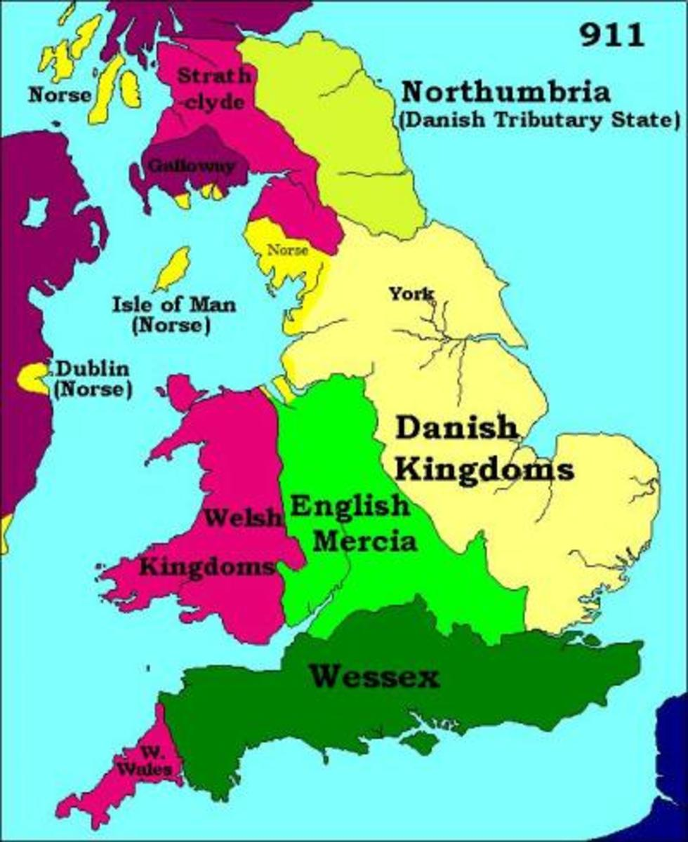 The kingdoms after .Wedmore. Aelfred and Guthrum had fought to a standstill, so there was little choice for Wessex but to accept the inevitable - for now.