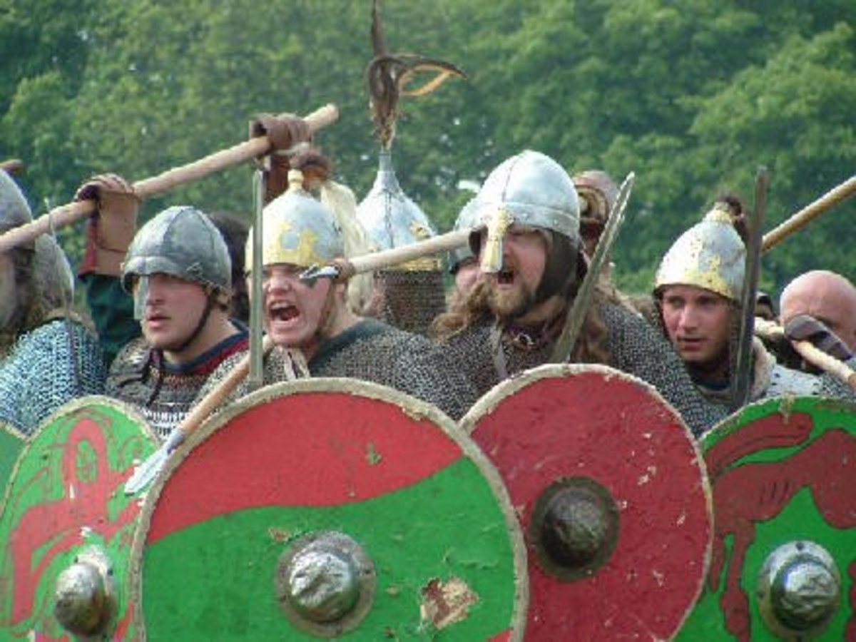 The Danes form a shieldwall, chanting for Freyja to come for their warrior dead - when Odin had taken his dead for the Einherjar, Freyja and her handmaidens the Valkyries would come for their share of the heroes
