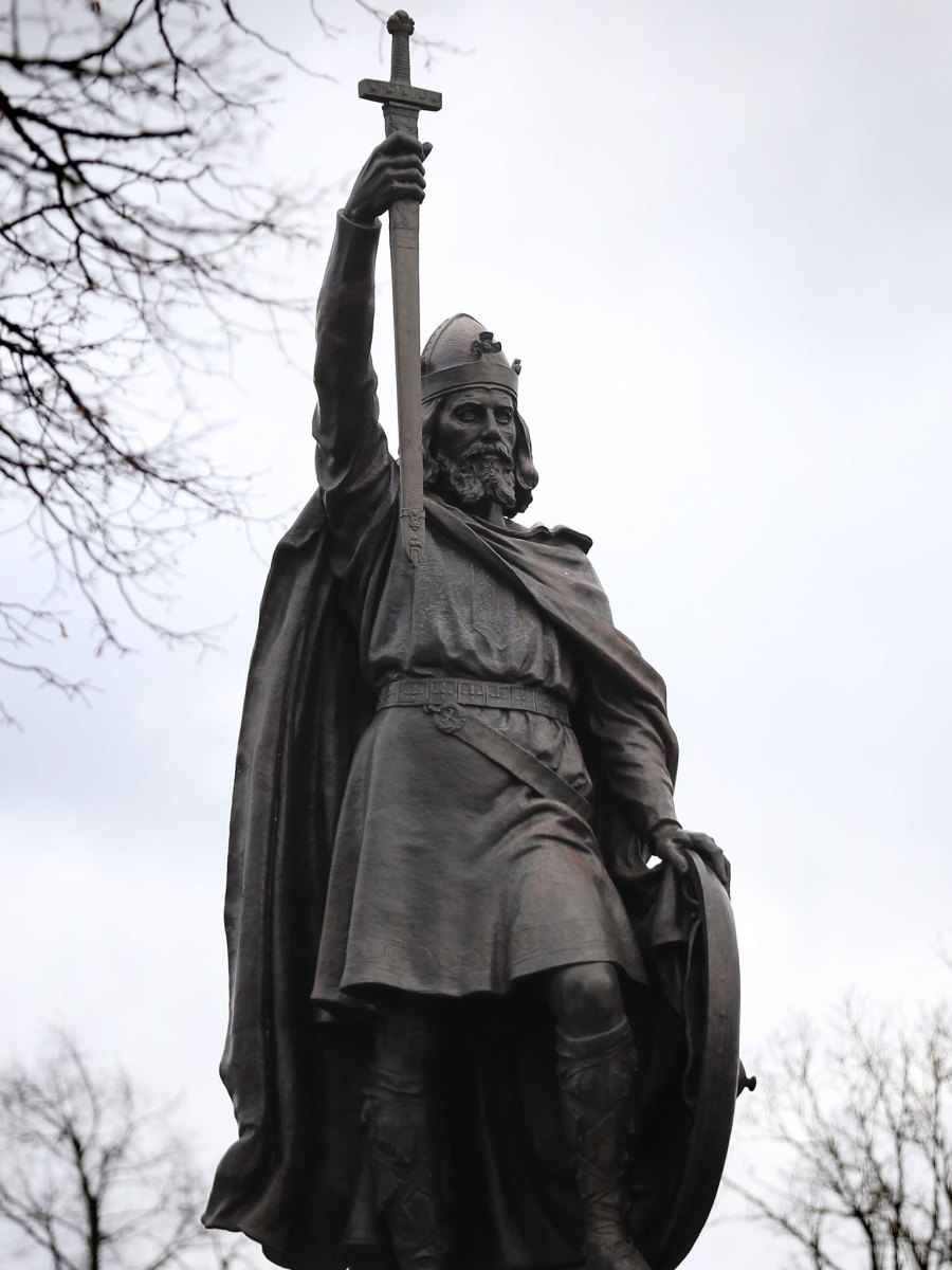 Statue of Aelfred at Winchester - it was the Danes who called him ''the Great', the first foe they'd had who made an effort to fight back
