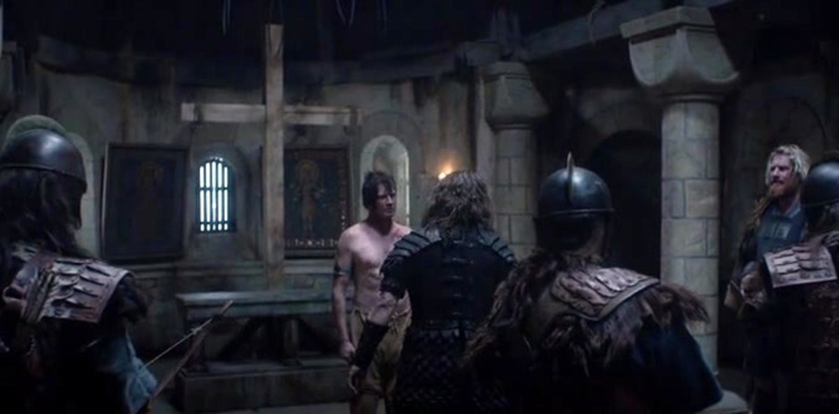 Scene from 'The Last Kingdom' where Eadmund has been cornered in the church he fled to at Bury - by fleeing he denied them the honour of their victory
