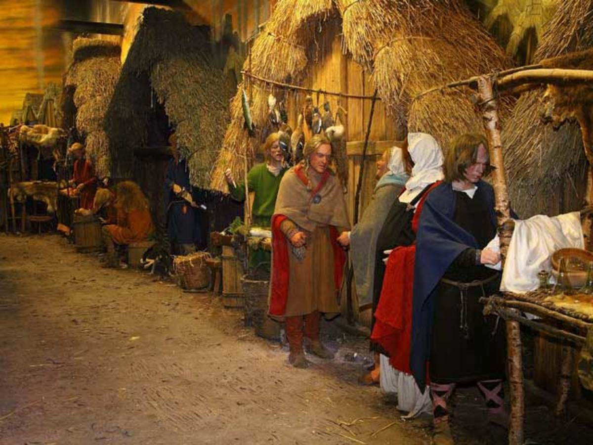 Along a Jorvik street traders and customers haggle and argue over prices...