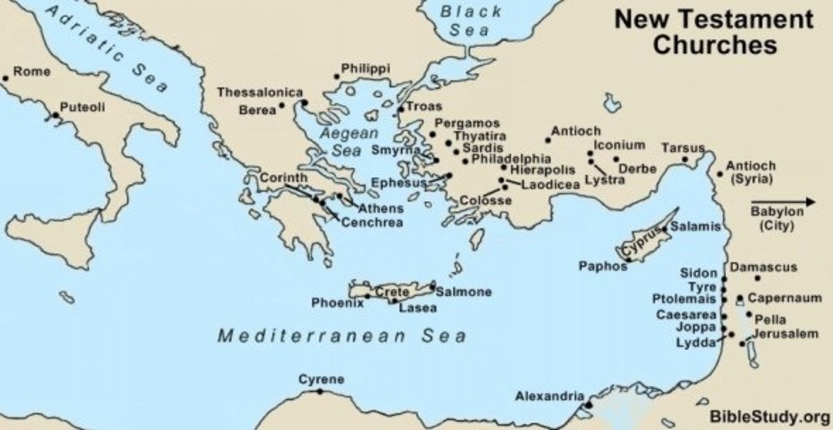 Map showing New Testament Churches