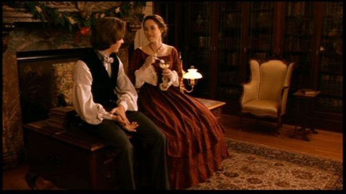 Winona Ryder as Jo March and Christian Bale as Laurie, Little Women (1994)