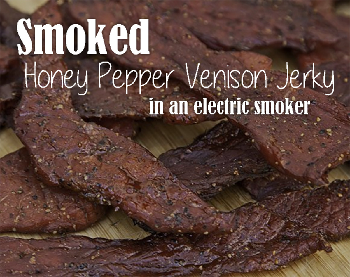 Smoked Honey Pepper Venison Jerky in an Electric Smoker