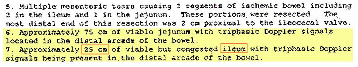 Key section of first-surgery notes from Bruce's medical records