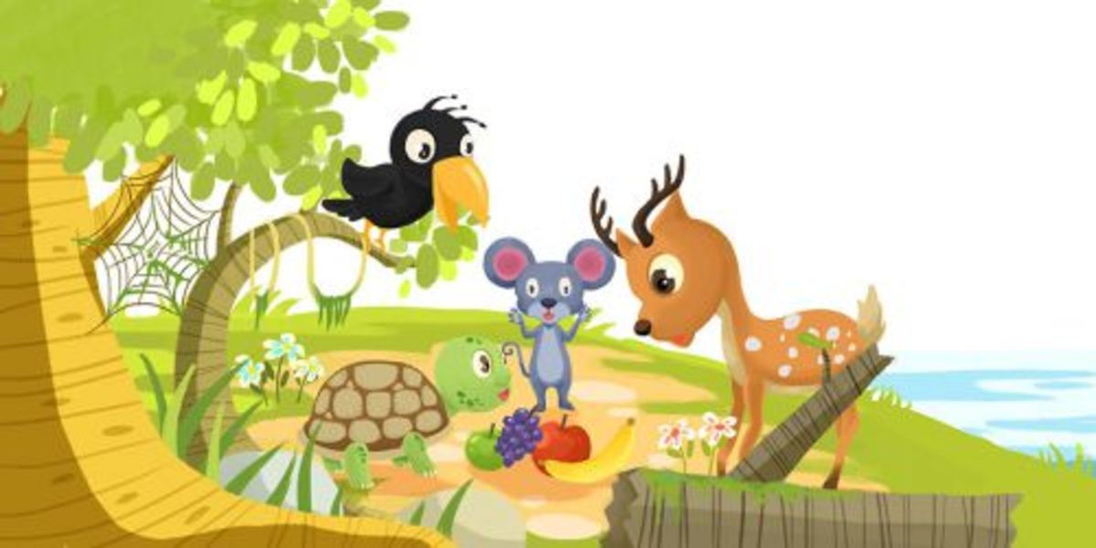 Four Friends- the crow, the deer, the mouse and the turtle.