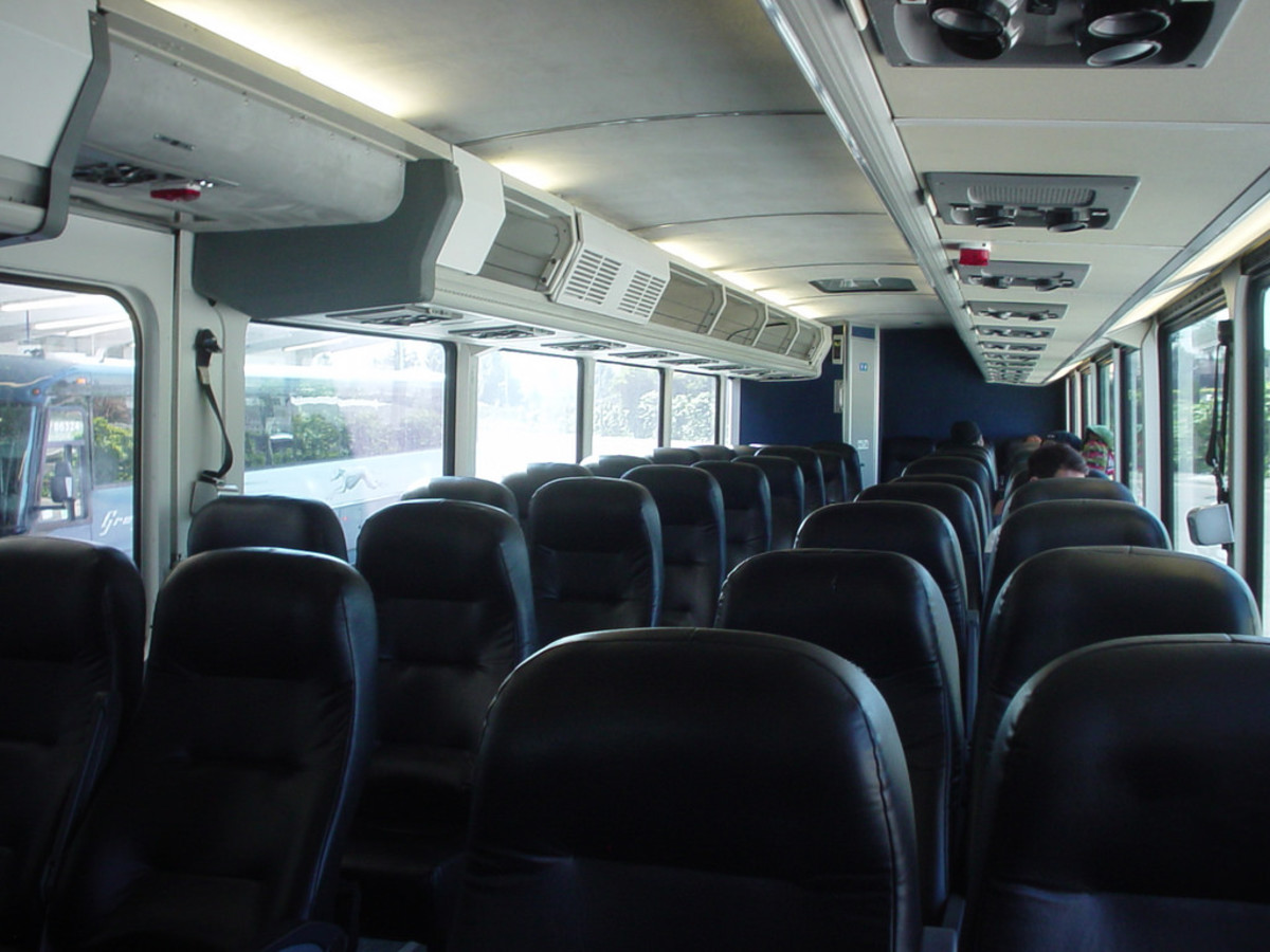 All Greyhound buses feature overhead bins for carry on bag storage.