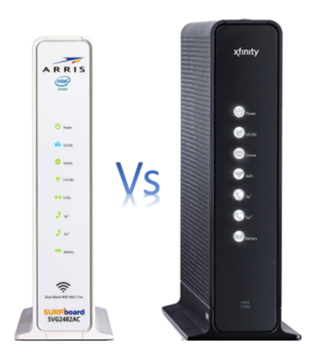 Side by side comparison of the functions and features of the Arris Surfboard SVG2482-AC and the Arris Surfboard TG862G-CT