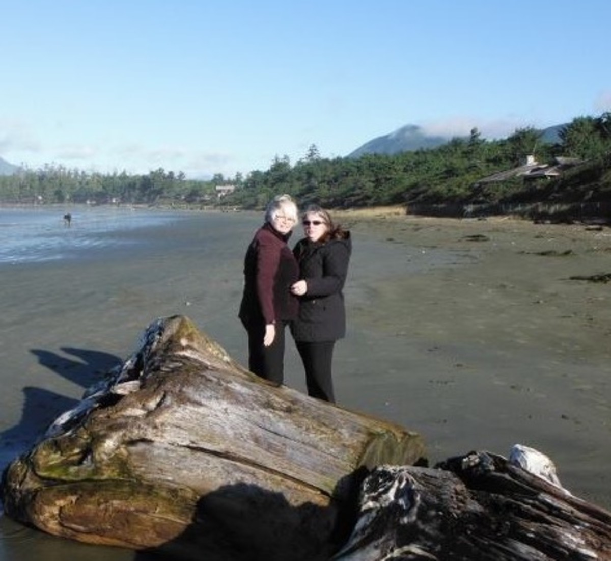 Us on the beach in Tofino. It was cold but that didn't matter.