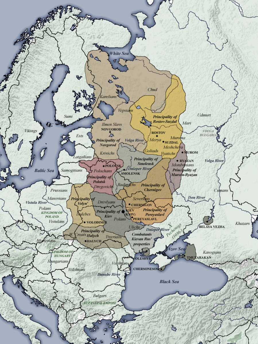 The Kievan Rus dominions between the Baltic and the Black Sea - extensive and in places heavily populated
