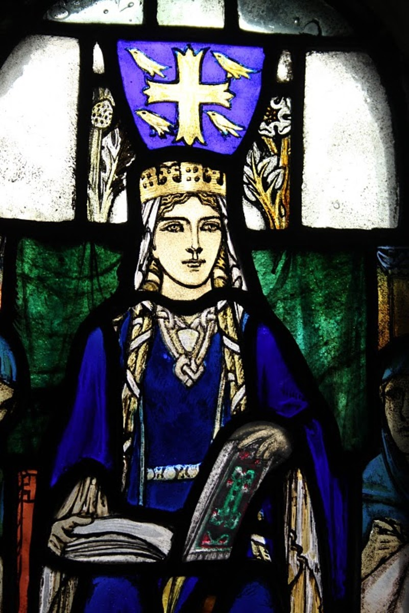 A stained glass image of Gytha as a married woman - she was patron to the church of Saint Pantaleon in Cologne, and a smaller church dedicated to him was built in the Ukraine