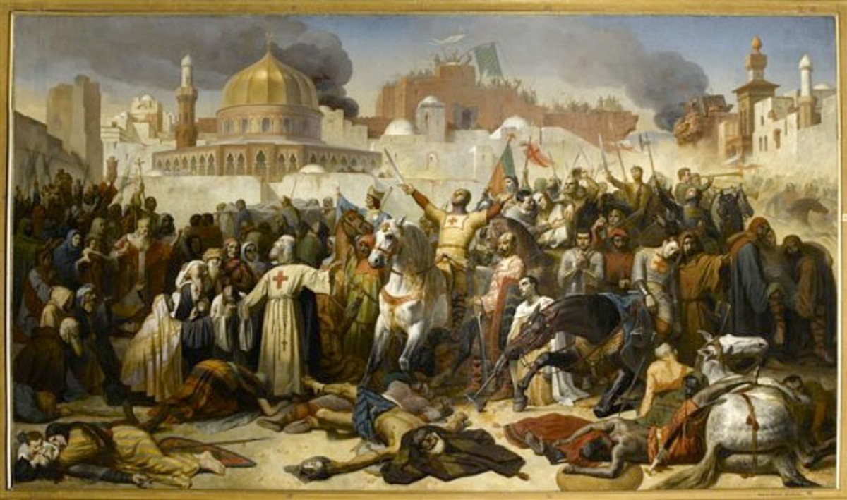 The taking of Jerusalem under the leadership of Godfrey de Boudillon. Robert and Eadgar are likely to have been with him