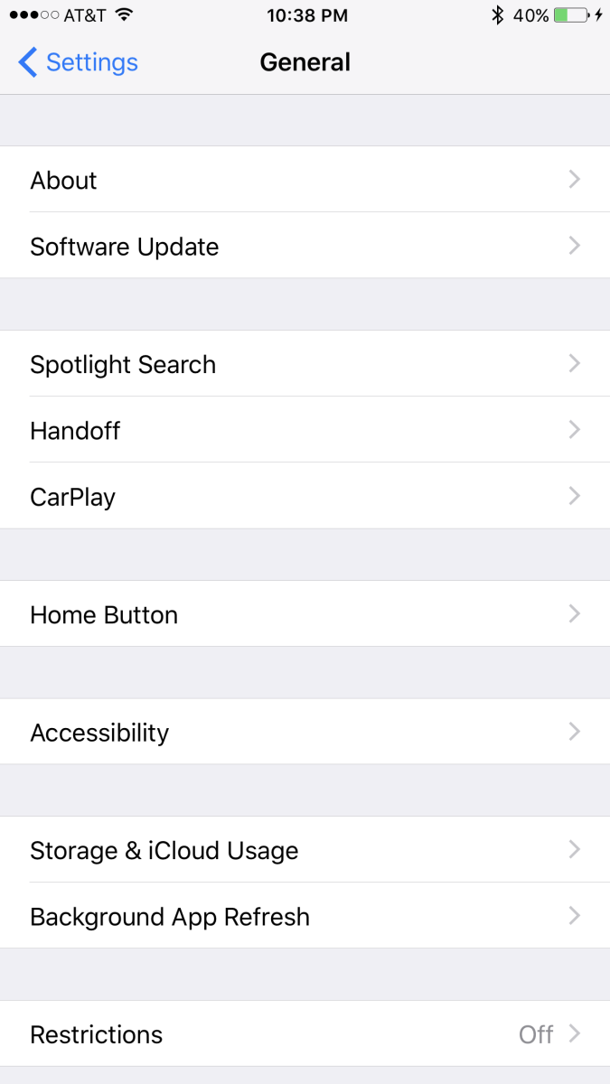 "Choose ""Home Button"" in the third item grouping. The Home Button option sits by itself."