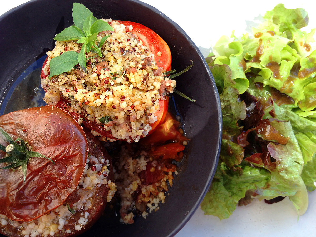 Stuffed tomatoes at Au Bistro - a dish you won't forget!