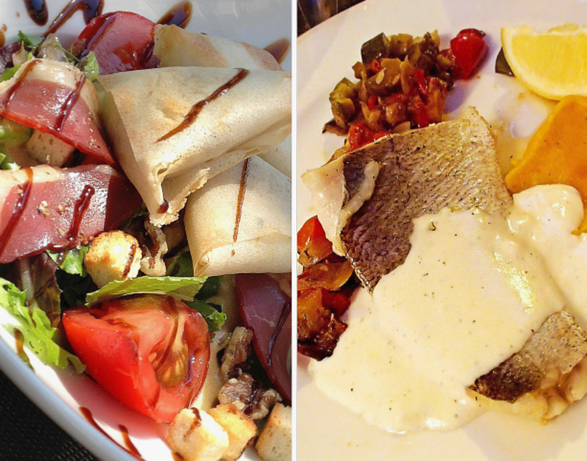 Left: Le Vip's smoked duck salad with goat cheese pockets. Right: White fish with lemon sauce, puree pumpkin, and Provencal style vegetables.