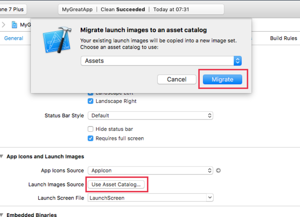 Migrate Launch images into the Assets catalog