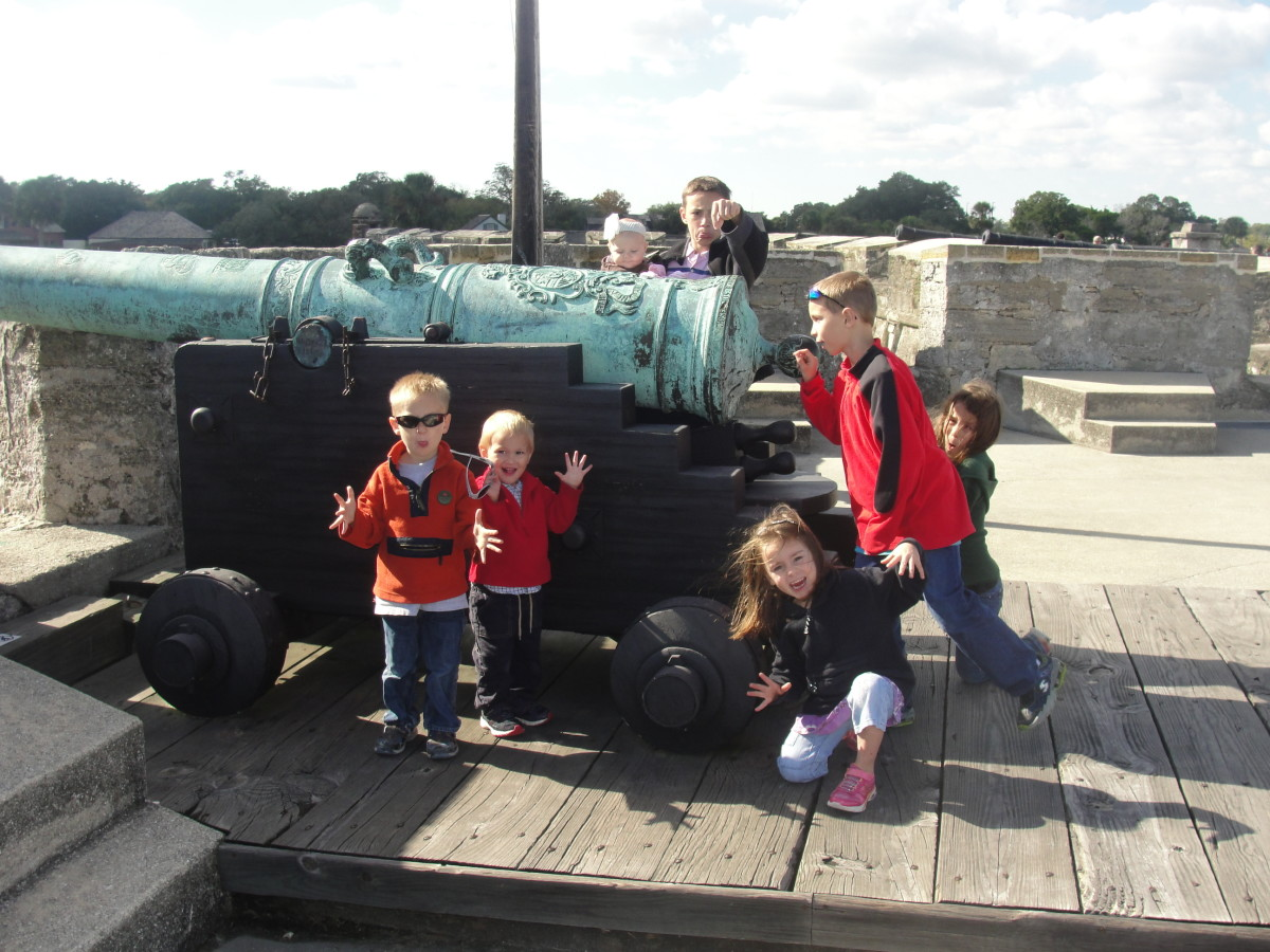 Posing at the Castillo de San Marcos, a national park where we received free admission because of our Every Kid in a Park membership pass