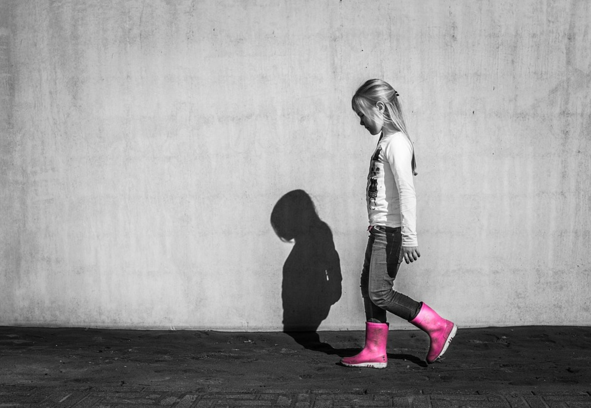 An image of a young girl and her shadow cast upon a wall.