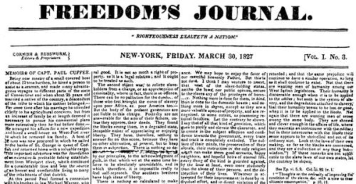 Freedom's Journal was the first African American owned and operated newspaper in the United States.